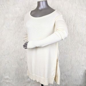 Banana Republic | Cream Zip Hem Boyfriend Sweater